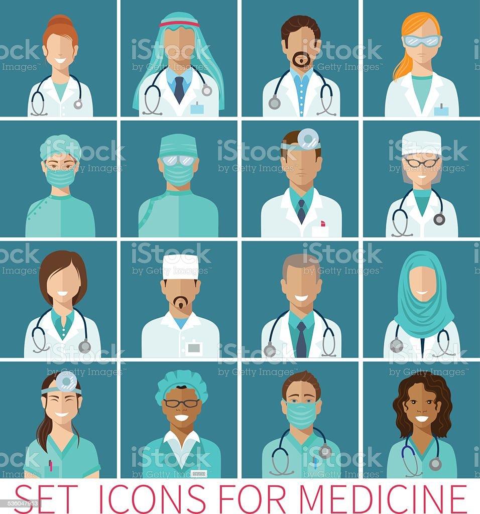 Ensemble d'icônes avatar caractères pour la médecine, design plat - Illustration vectorielle