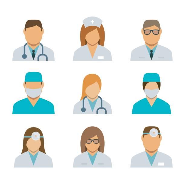 illustrazioni stock, clip art, cartoni animati e icone di tendenza di set of  avatar icons for medical staff - dottoressa