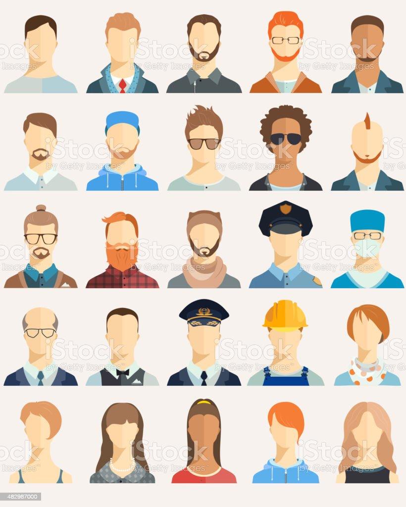 Set of avatar icons. vector art illustration