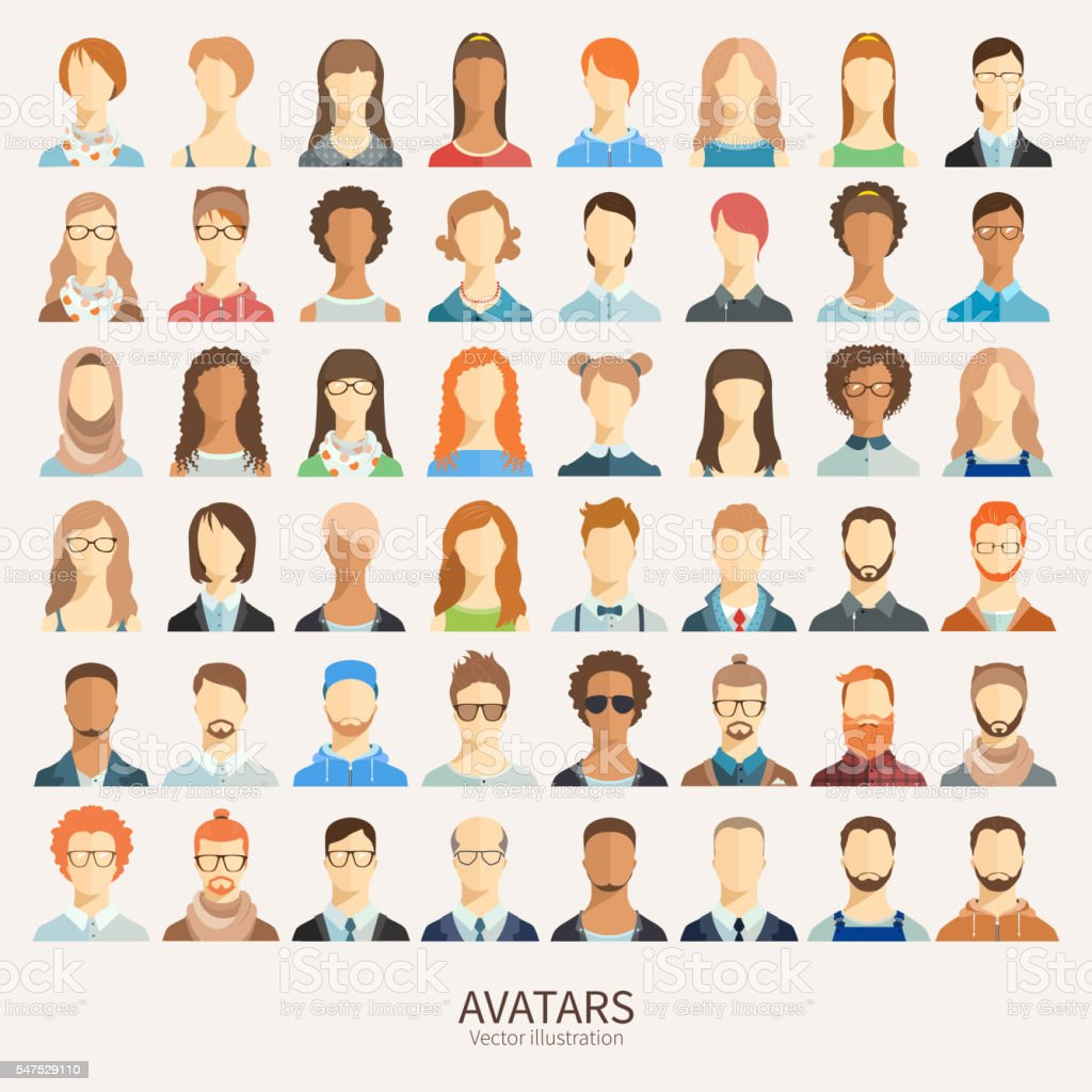 Set of avatar icons. vector art illustration
