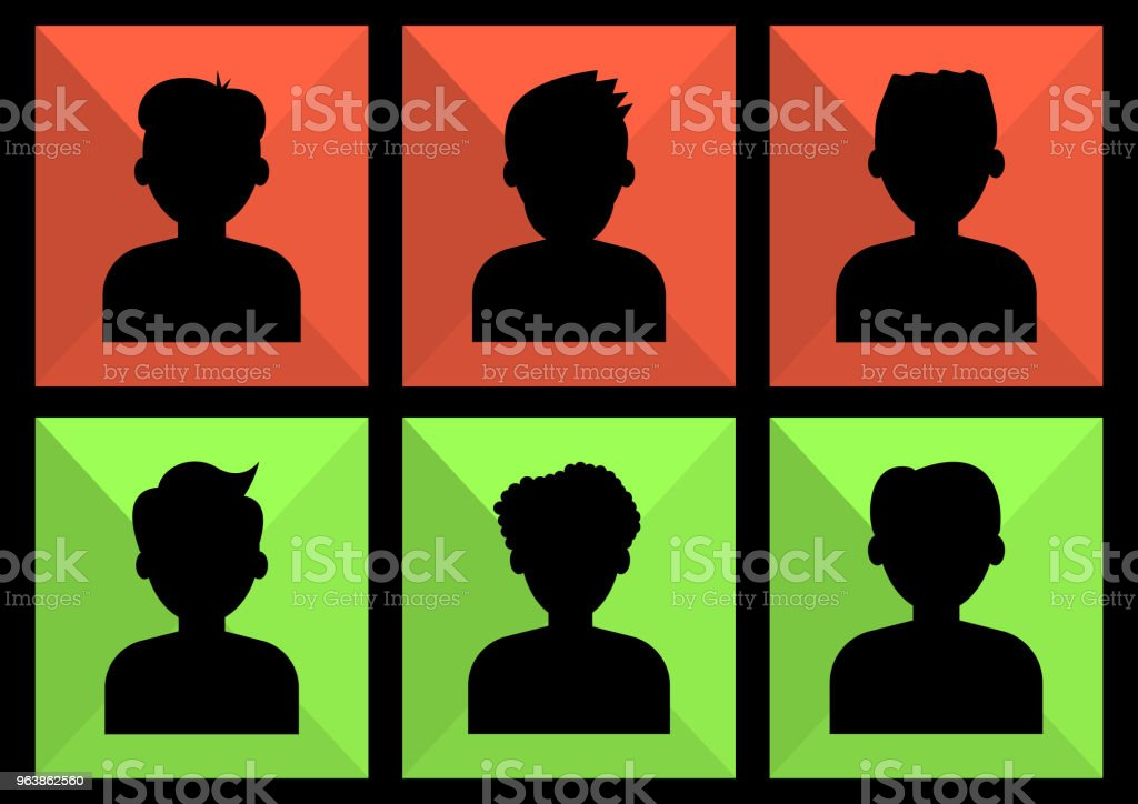 Set of avatar profile picture icon. Black silhouettes on colors background. Portraits men. Vector illustration - Royalty-free Adult stock vector