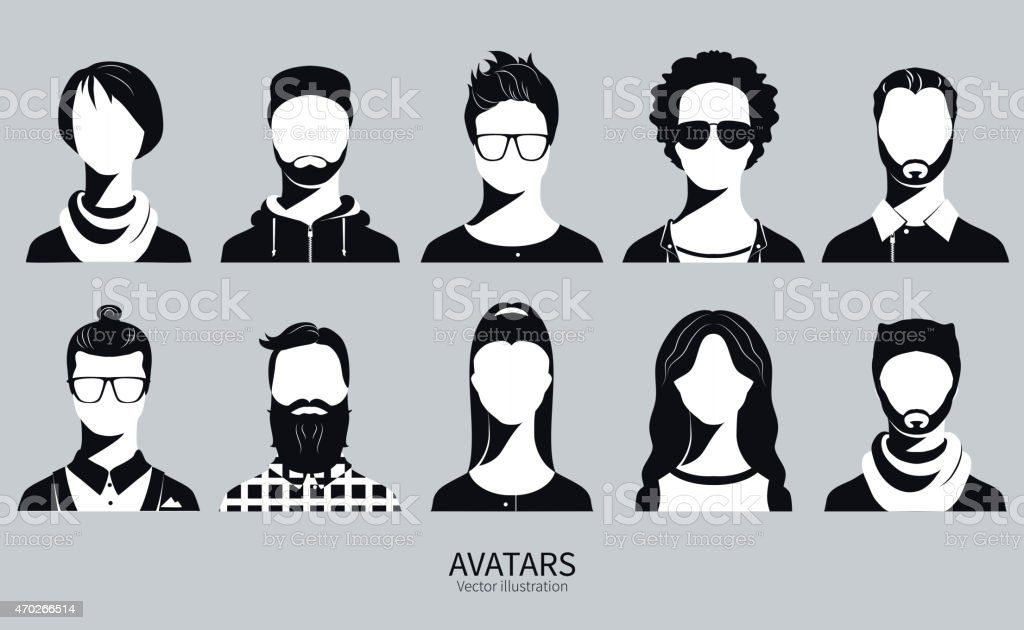 Set of Avatar vector illustration icons vector art illustration