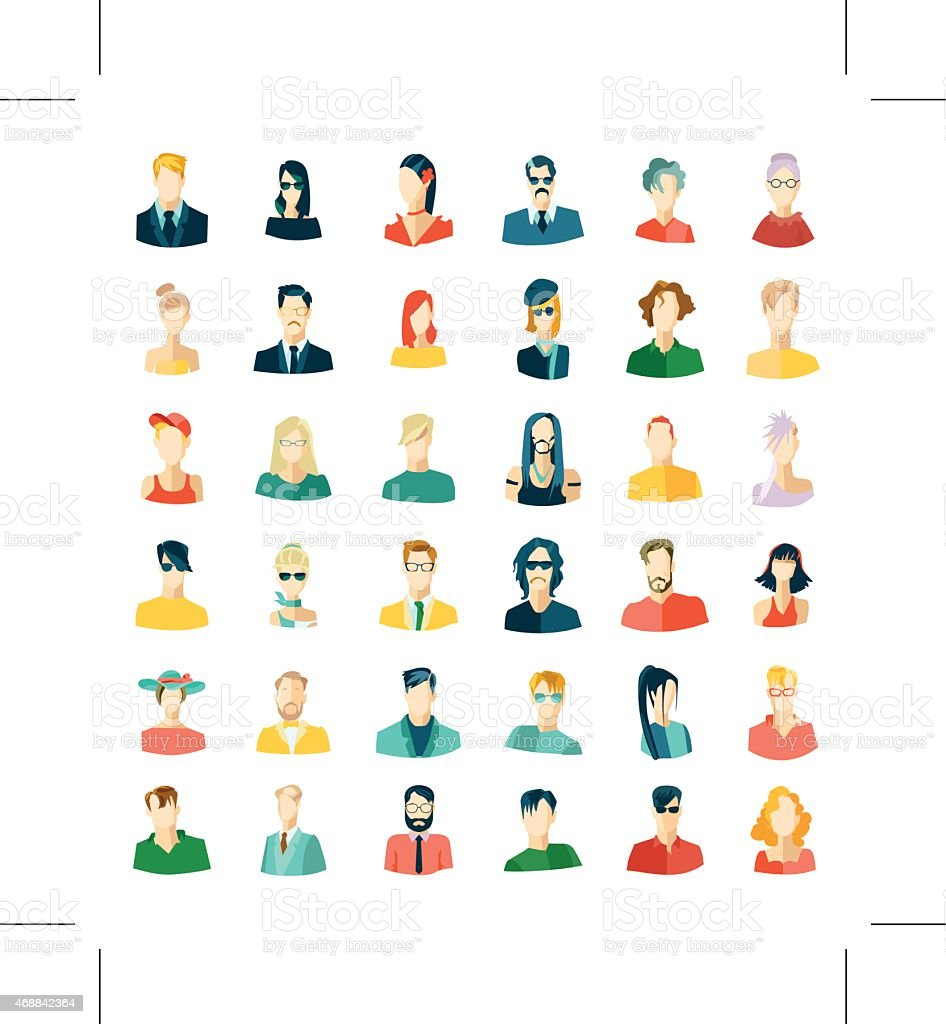 Set of avatars, flat design vector art illustration