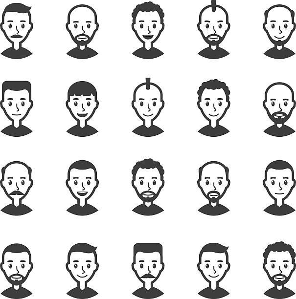 stockillustraties, clipart, cartoons en iconen met set of avatars men. user icon. faces of cartoon characters - kaal geschoren hoofd
