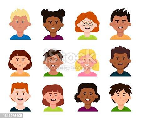 istock Set of avatars of different children. Multi-ethnicity, diversity collection. 1311976405