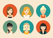 Set of vector avatars of different women app icons. vector flat illustration