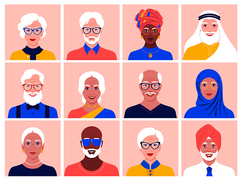Set of avatars of elderly men and women of different nationalities and races. Diversity. clipart