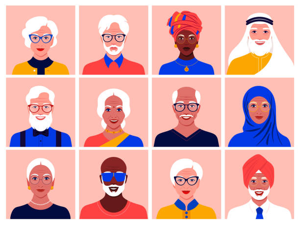 Set of avatars of elderly men and women of different nationalities and races. Diversity. Set of avatars of elderly men and women of different nationalities and races. Diversity. Multinationality. Portraits of grandparents. Vector flat illustration indian family stock illustrations