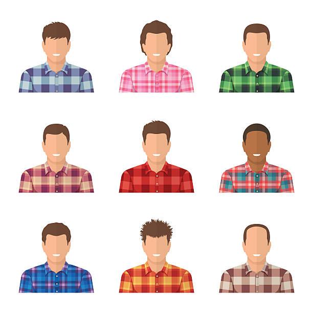 set of avatars of guys in plaid shirts. - plaid shirt stock illustrations