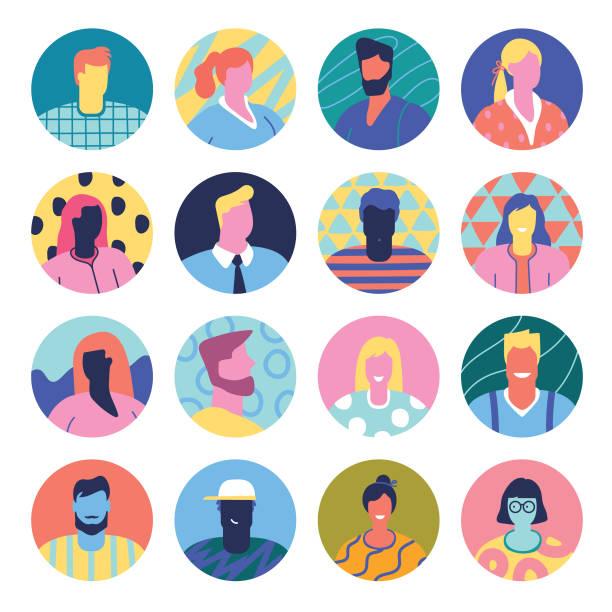 bildbanksillustrationer, clip art samt tecknat material och ikoner med uppsättning avatarer - illustrationer med many faces
