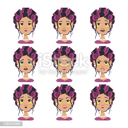 Different emotions of a blonde, brunette girl and girls of different nationalities. Happy, sad, surprised, joyful, distressed, angry facial expressions. With straight, curly hairstyles, short and long hair, a bun. Asian, Afro, Slavic appearance. Girl with pink curlers and yellow patches. Fashion avatar in flat vector art