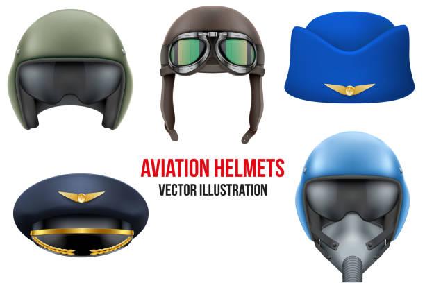 stockillustraties, clipart, cartoons en iconen met set of aviator helmets and hats. - stewardess