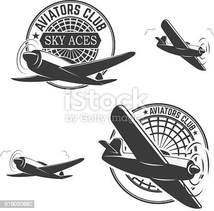 Set of aviators club labels. Planes icons. Avia club emblems. Aeroplane trips. Aviators club logo. Design elements in vector.