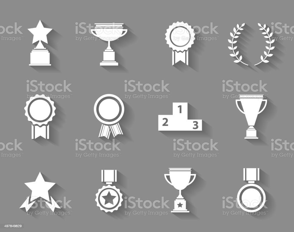 Set of award success and victory icons vector art illustration