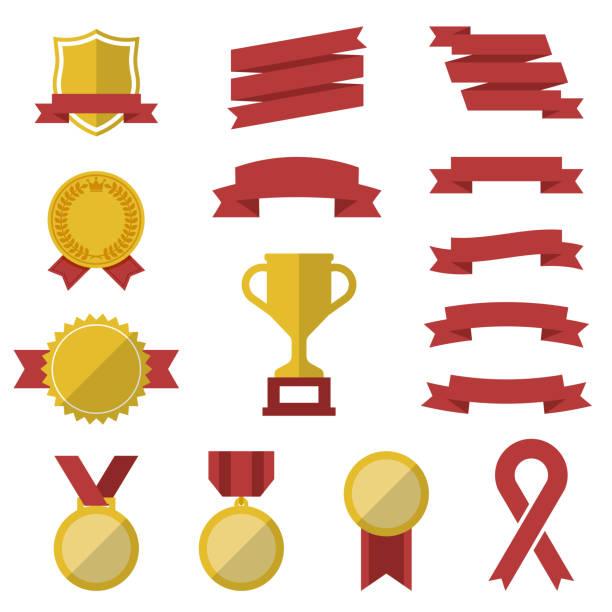 賞の勝利アイコン セット - フラット トロフィー受賞のシンボルやロゴをベクター - メダル点のイラスト素材/クリップアート素材/マンガ素材/アイコン素材