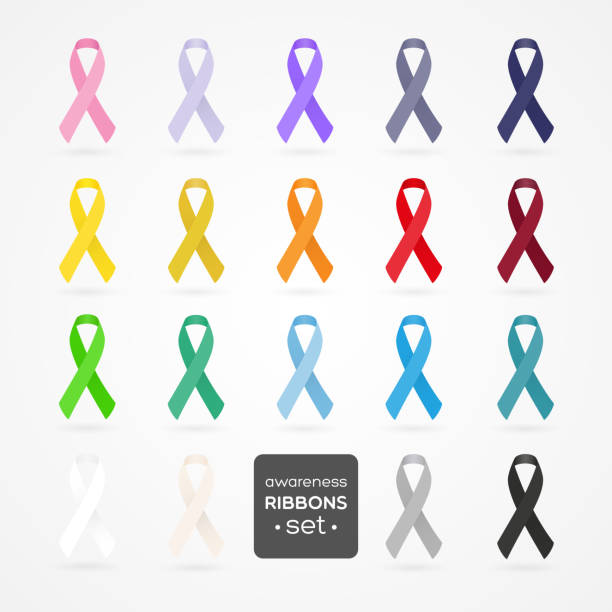Set of awareness ribbons. Realistic style. Vector illustration. vector art illustration