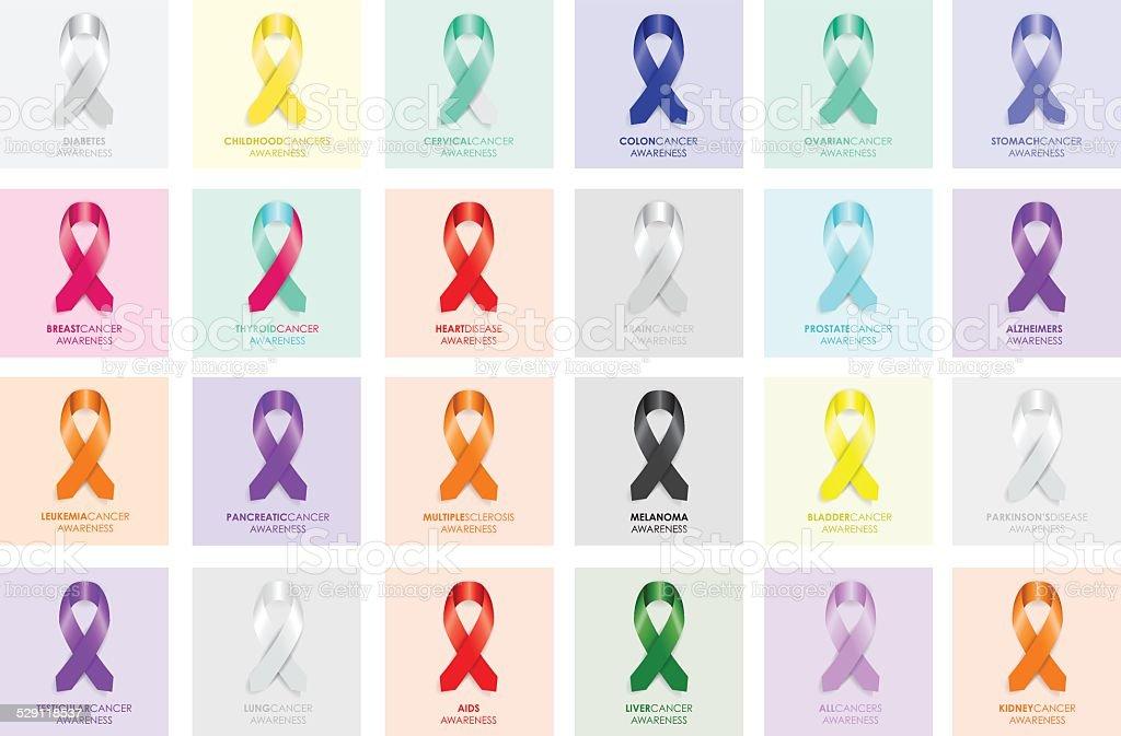 set of awareness ribbons vector art illustration