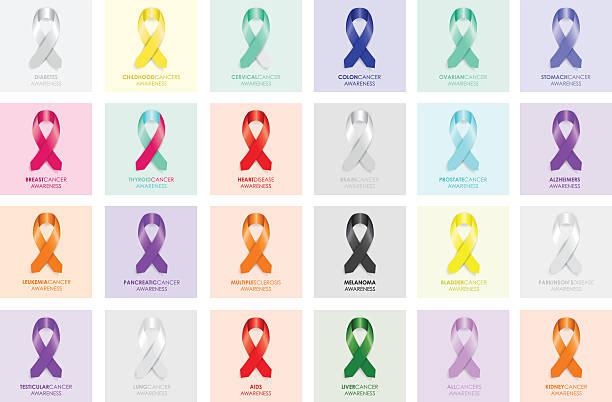 set of awareness ribbons - ovarian cancer ribbon stock illustrations