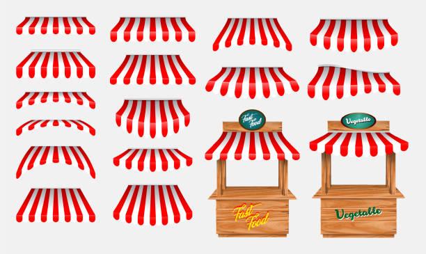 illustrazioni stock, clip art, cartoni animati e icone di tendenza di set di ala con bancarella del mercato in legno e vari chioschi, con tenda a strisce rosse e bianche isolate. - bancarella