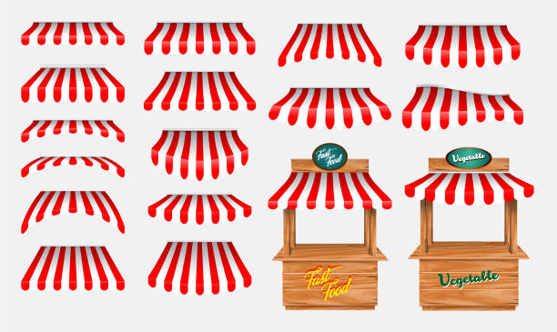 set of awing with wooden market stand stall and various kiosk, with red and white striped awning isolated. set of awing with wooden market stand stall and various kiosk, with red and white striped awning isolated. easy to modify farmer's market stock illustrations