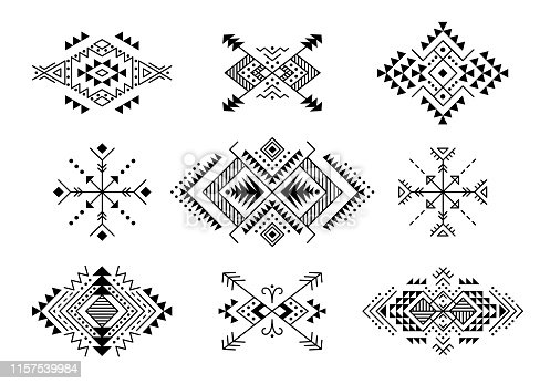 Black and white colored vintage set of Aztec style ornaments and arrows. American indian ornamental pattern design collection. Tribal decorative templates. Ethnic ornamentation. EPS 10 vector. Isolated on the white background.
