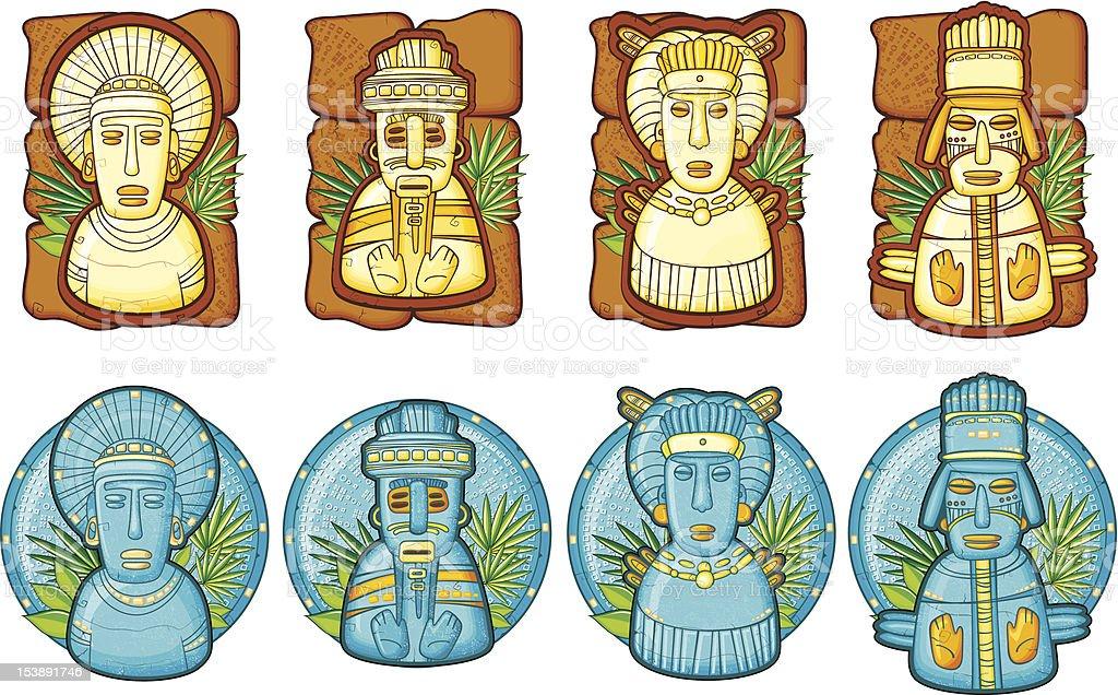 Set of aztecs masks vector art illustration