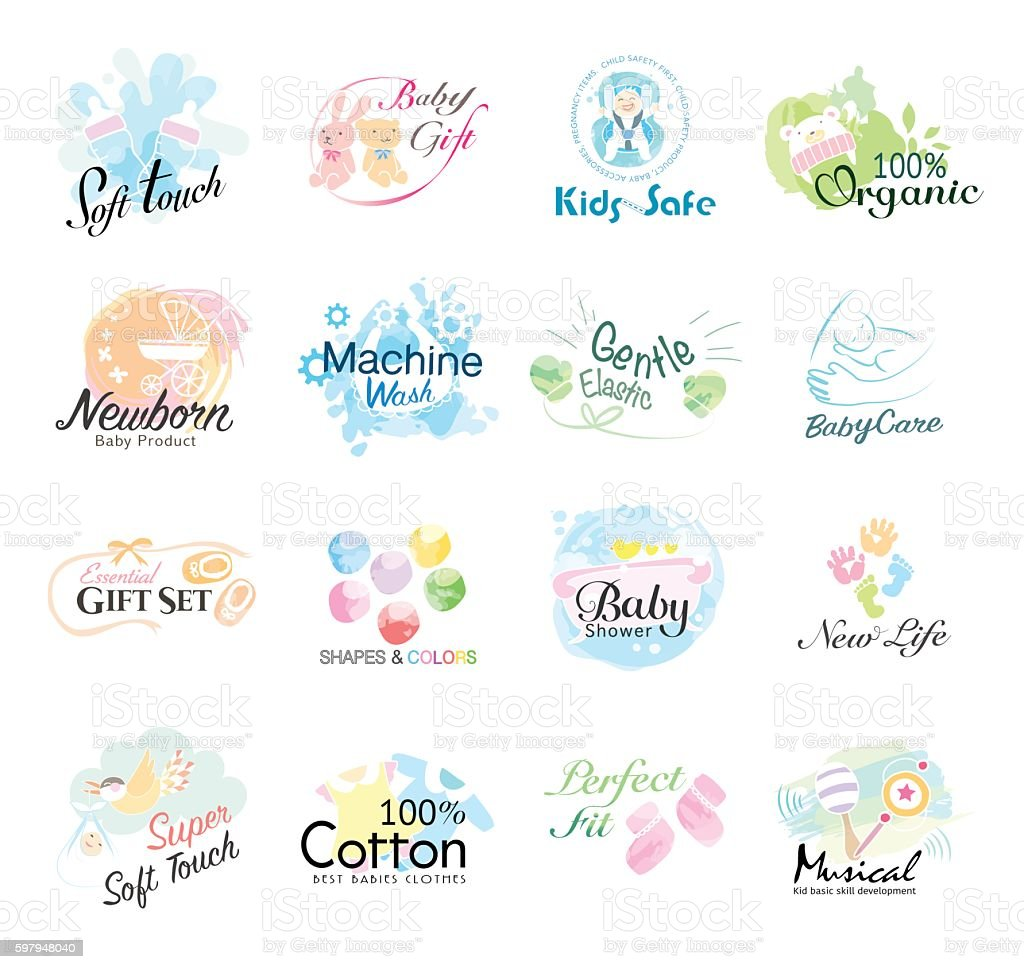 Set of babies icon. labels and badges for kids products. vector art illustration