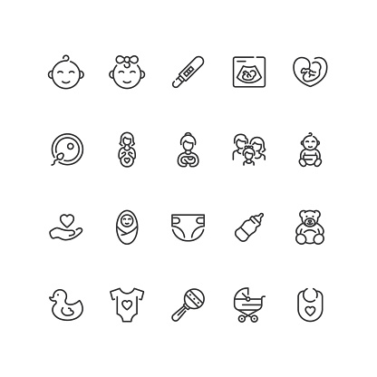 Set of babies, motherhood and pregnancy icons in line style.