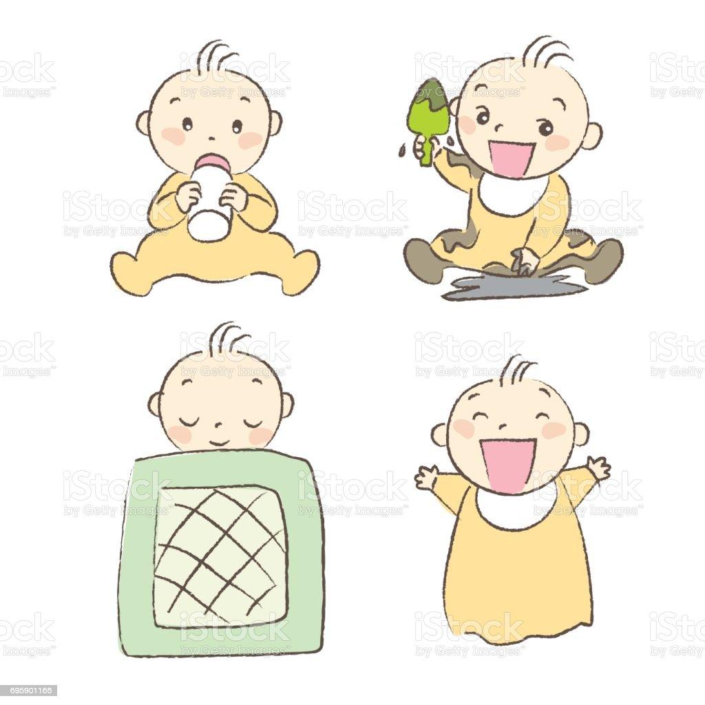Ilustração De Conjunto De Bebês Várias Poses E Expressão E Mais