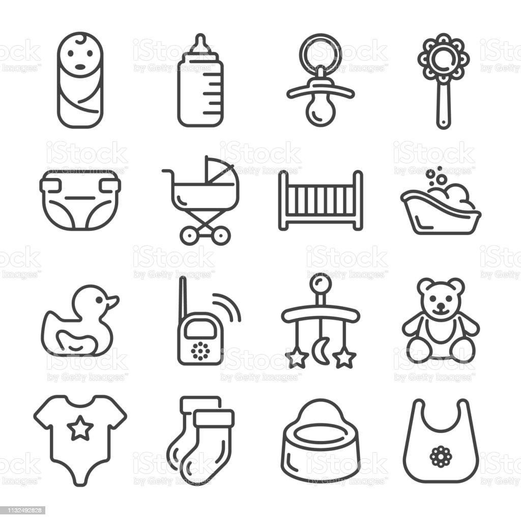 Ensemble d'icônes de contour de soin de bébé et d'enfant. Illustration vectorielle. - Illustration vectorielle