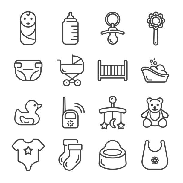 Set of baby and child care outline icons. Vector illustration. Set of baby and child care outline icons on white background. Vector illustration. baby carriage stock illustrations