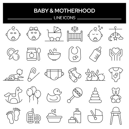 Set of Baby and Motherhood Related Line Icons. Outline Symbol Collection, Editable Stroke