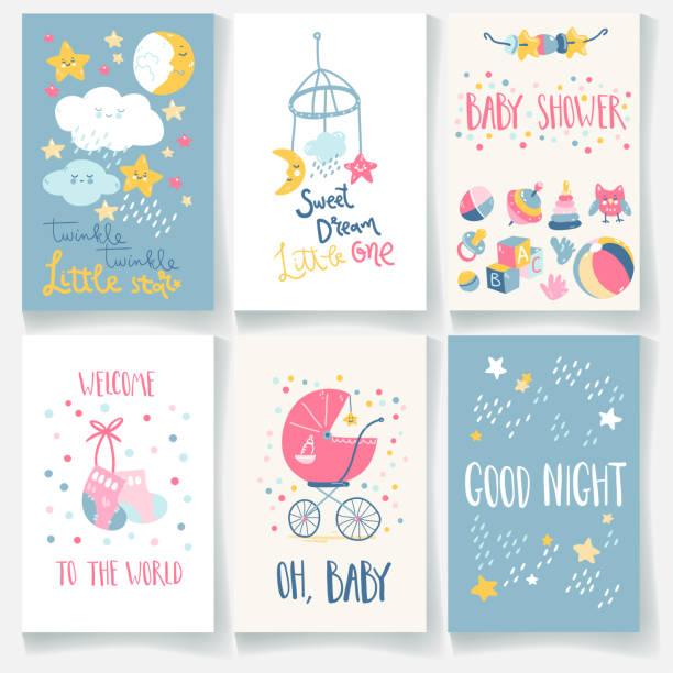 Ensemble de cartes de bébé. Bonne nuit, étoile scintillante, doux rêve, bienvenue, douche de bébé. Lettrage de main - Illustration vectorielle