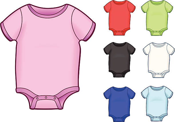 Set of baby onesies This is a set of baby onesies - each color is separated on it's own layer for easy editing. infant bodysuit stock illustrations