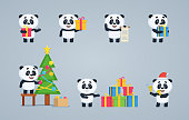 Set of baby panda characters showing different actions. Cute panda holding gift box, present, scroll, jingle bells, decorating Christmas tree, celebrating New Year