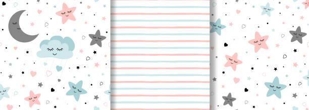 bildbanksillustrationer, clip art samt tecknat material och ikoner med uppsättning av baby mönster på ljusrosa blå färger girl boy stars månen sömlös bakgrund - baby sleeping
