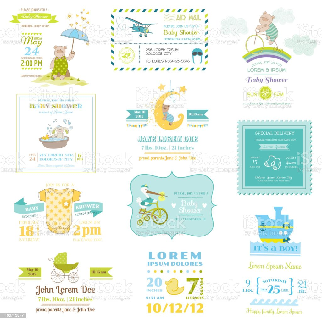 Set of Baby Shower and Arrival Cards vector art illustration