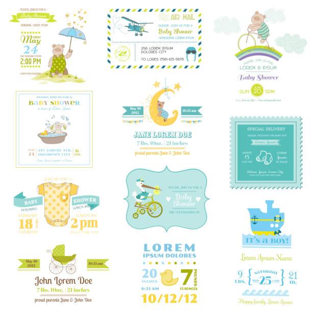 illustrations, cliparts, dessins animés et icônes de set de cartes de douche de bébé et de l'arrivée - naissance