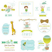 Set of Baby Shower and Arrival Cards