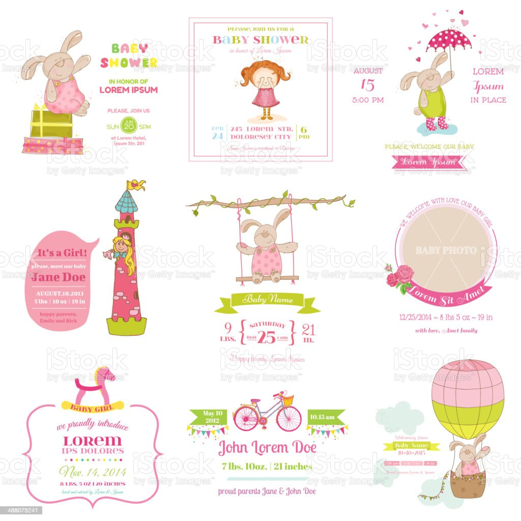 Set of Baby Shower and Arrival Cards royalty-free stock vector art
