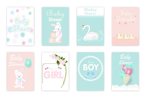 Set of baby shower cards, birthday card, greeting card cute cartoon illustration