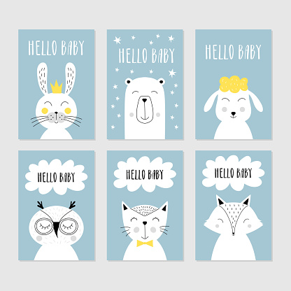 Set of baby shower cards with cute animals. Vector isolated illustration.