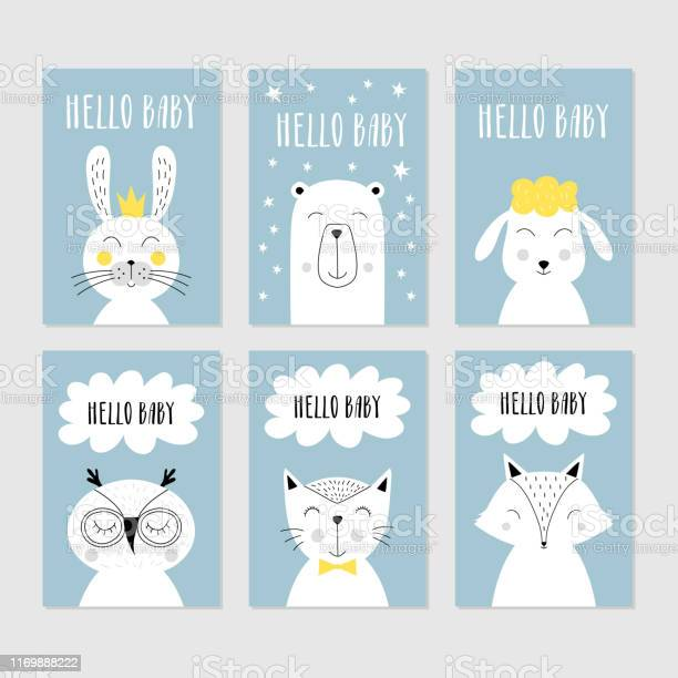 Set of baby shower cards with cute animals vector isolated vector id1169888222?b=1&k=6&m=1169888222&s=612x612&h=htfq pzm0jbxbayvumd3o 4ob4y8a2 uh7gjcczznyo=
