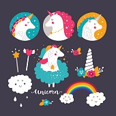 Set of baby unicorn and rainbow. Kids illustrations for design prints, cards and birthday invitations. Vector collection with cute unicorn, rainbow, flowers and hand drawn lettering
