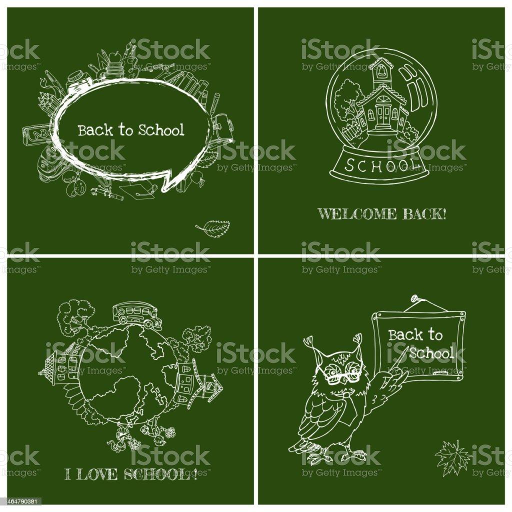 Set of Back to School Cards vector art illustration