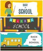 Set of back to school flyers. Vector illustration