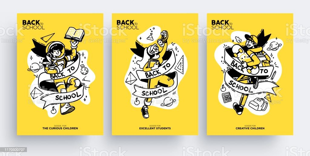 Astounding Set Of Back To School Greeting Cards Posters Or Flyers Cute Happy Funny Birthday Cards Online Fluifree Goldxyz