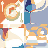 Set of backgrounds for the menu. Silhouettes of glasses and a plate with abstract shapes.