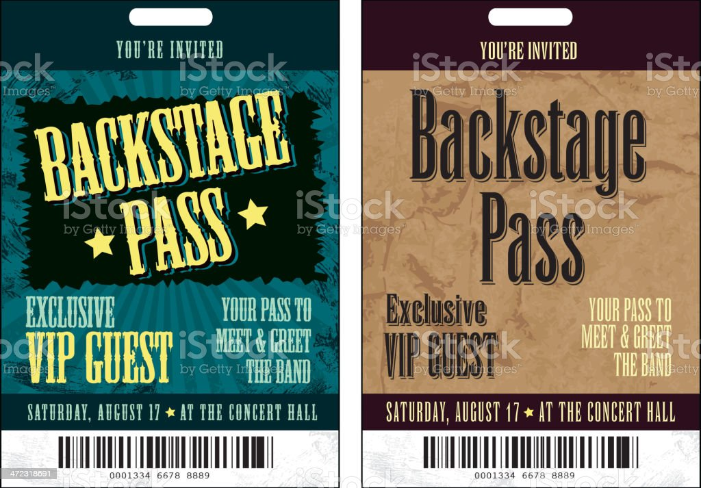 Set Of Backstage Pass Template Designs Stock Vector Art & More ...
