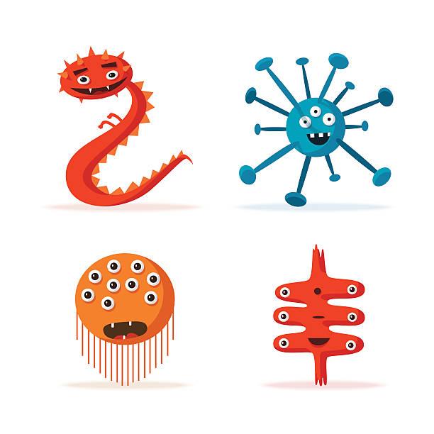 Set of bacteria characters. Cartoon vector illustration. Microbiology vector art illustration